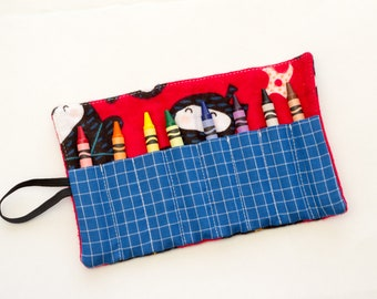 Red Ninja Crayon Roll, Flannel Crayon Roll with Ninjas, Red Fabric Crayon Holder, Red, Blue, and Black Cotton Fabrics, Handmade