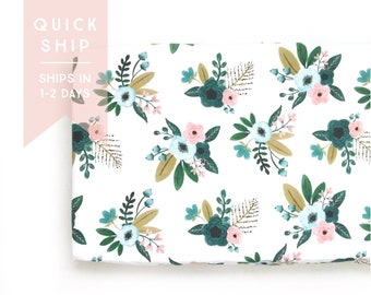 Changing Pad Cover Teal Bouquets. Change Pad. Changing Pad. Floral Changing Pad Cover. Changing Pad Girl.