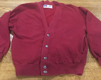 Vintage 1990s Russell Athletic Button Up Cardigan Sweatshirt Size Large
