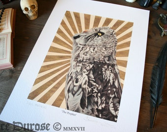 Great Grey Owl 'The Prophet' A3 Fine Art Print. Occult, bird illustration. Surreal, Macabre, Magic, Witch. The Unholy Trinity. Giclee.