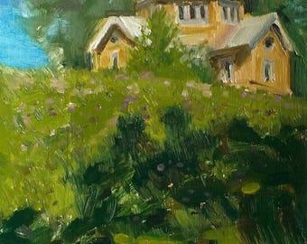 Original oil painting Village painting Summer Landscape calm landscape Gift Nature landscape painting