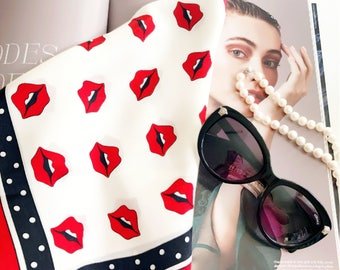 Silk Scarf ,  Square Neck Scarf , Women Silk Scarf , Gifts for Her - Bright Red Lips Print