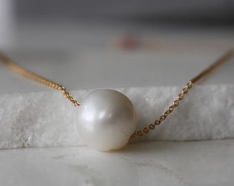 Fresh Water Pearl Necklace l 14 k gold filled Pearl Necklace l Bridesmaid Jewelry l Bridal Necklace l Real pearl necklace