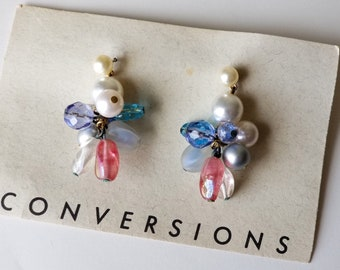 Vintage glass bead and faux pearl earrings