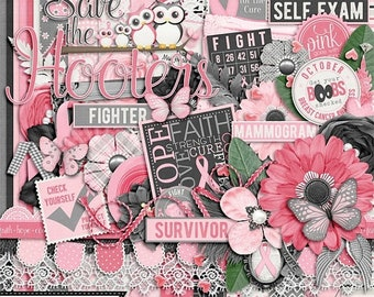 On Sale 50% Off Breast Cancer Awareness, I Am A Warrior Digital Scrapbooking Kit, Elements, Embellishments, Papers