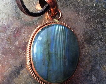 Blue Labradorite Necklace In Copper with Suede Cord!