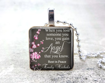 Personalized Memorial Name Necklace - Angel in Heaven Jewelry - In Memory Custom Name Wood Pendant