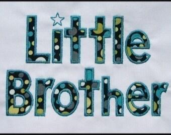 INSTANT DOWNLOAD Little Brother Applique designs