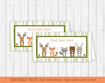 Woodland Forest Animal Tent Cards / Food Labels / Place Cards / Woodland Baby Shower / INSTANT DOWNLOAD Editable PDF A187