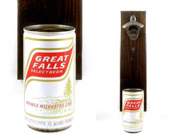 Wall Mounted Oregon Bottle Opener With A Vintage Great Falls Select Beer Can Cap Catcher - Birthday, Or Groomsman Rustic Barware Gift Idea