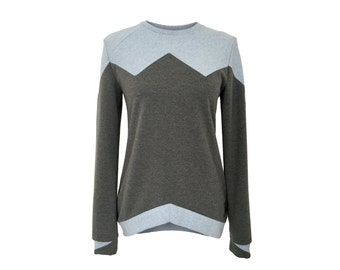 Eisbörg Bovo sweater Grey x blue-casual geometric sweatshirt with patchwork