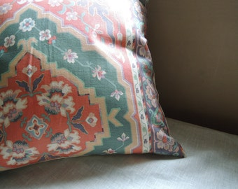 Coral and sea foam Ikat ethnic linen cotton home decor pillow cover 22x22