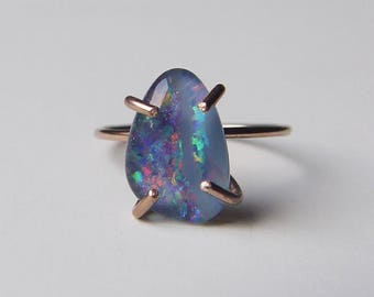 Australian Fire Opal Gold Ring