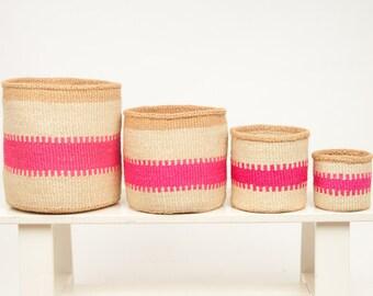KUZUIA: Fluoro Pink & Natural Woven Storage Basket