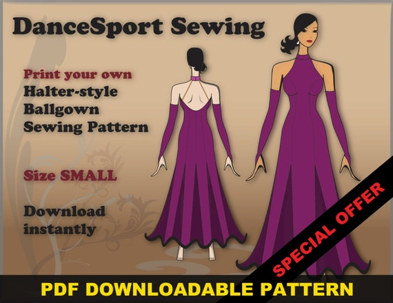 Halter Style Ballroom and Latin Gown Sewing Pattern PDF