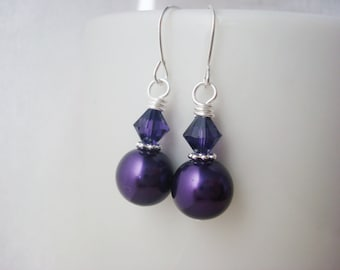 Purple Pearl Earrings, Pearl Drop Earrings, Pearl Earrings, Wedding Jewelry, Gift for Her, Bridesmaid Jewelry, Pearl Bridesmaid Earrings
