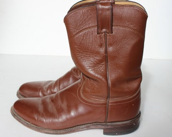Vintage Justin Cowboy Boots 8 Mens Roper Brown Leather Style 3802 Registered Number 53749 Riding Boots Medium Brown Boots Farm Boots