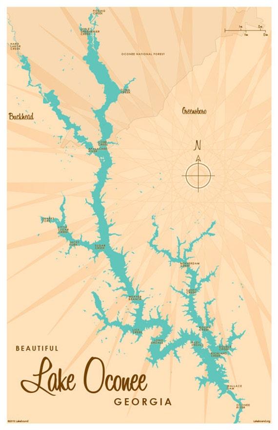 Lake oconee ga map print for Lake oconee fishing
