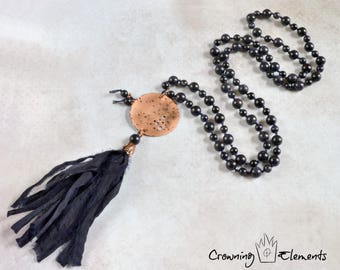Blue Goldstone Moon Mantra Necklace ~ Lunation Series