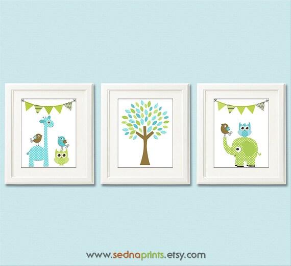 Blau grün und braun Kinderzimmer Art Print Set 8 x 10-Baby