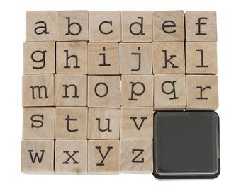 Wooden Alphabet Stamp Set with 1 Black Ink Pad
