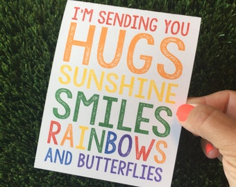 Sending you Hugs - I miss you card - Thinking of you card - Just Because Card - Friendship card - Get Well Soon - Rainbow Card