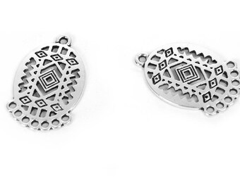 10 connectors multi-trous 2.7 cm silver plated oval / ethnic Collection
