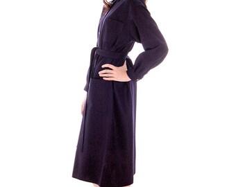 Vintage 1970s Vuokko Coat Dress Navy Fine Wool Mod Style 4 Pocket Womens Woven Pattern Large