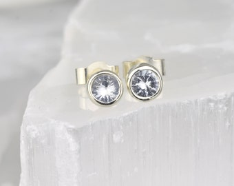 White Sapphire Round Gold Studs | April Birthstone Gold Studs | White Sapphire Gold Earrings | September Birthstone Earrings