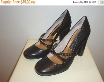 50% OFF Beautiful Must See Vintage Black Leather Mary Janes, Sz.6