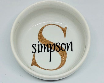Personalized ring dish, last name and initial, wedding gift, anniversary gift
