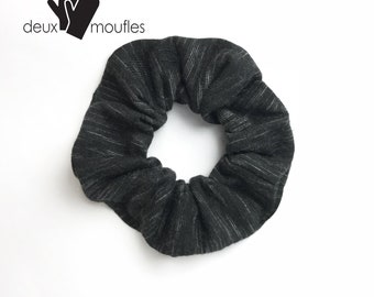 Gray and black Upcycled hair accessory, scrunchie