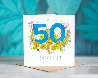 Number/Age Birthday Card - 50