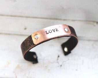 Copper and Leather Cuff Bracelet, Seventh Year Copper Anniversary Gift For Wife, Gift For Girlfriend, Unique Birthday Jewelry Girlfriend