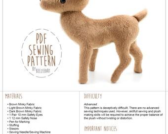 Deer Stuffed Animal Sewing Pattern, PDF Pattern, DIY Sewing Project, Plushie Pattern, Plush Sewing Pattern, Digital Download
