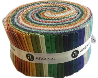 """SALE Fabric Andover Asterisk Double Scoop 2.5"""" Precut Fabric Quilting Cotton Strips Jelly Roll"""
