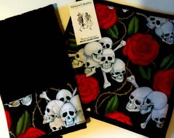 Skull and Crossbones potholder & dish towel set, skeletons, roses, biker