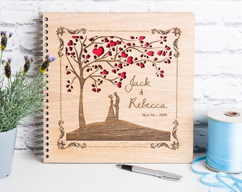 Wedding Guest Book, Wedding Tree Book, Wedding Album, Wooden Wedding Gift, Personalised Wedding,  Heart Tree, Heart Tree Book