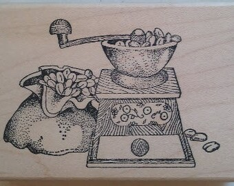 Coffee Grinder Rubber Stamp - 194M06