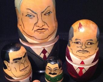 Russian  Nesting Dolls Babushkas Hand Painted 1980's