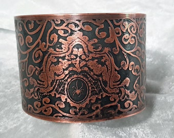 Copper Cuff Bracelet, Halloween themed, Spider, Gothic, Steampunk, Free Shipping
