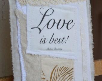 White  Doorknob Hanging Art Quilt - Love is Best