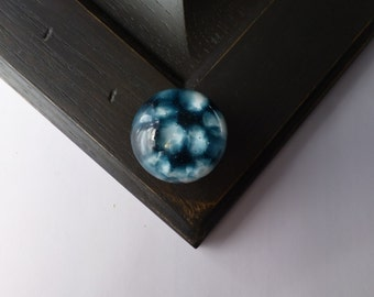 Midnight blue pair of knobs, Glass knobs, cabinet knobs, round blue knobs, one of a kind home decoration