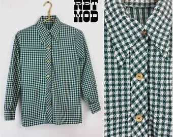 Vintage 70s Iconic Green & White Houndstooth Plaid Thick Polyester Shirt with Pointed Collar