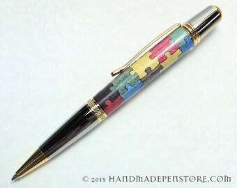 AUTISM AWARENESS Puzzle pen (#8) - wood inlayed in Black Titanium/Titanium Gold Sierra style pen