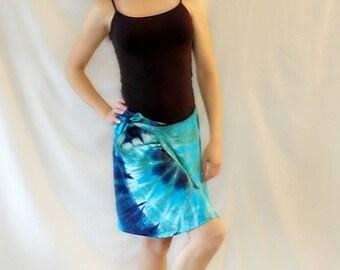 Tie Dye Seafoam Blues Mini Rayon Wrap Skirt