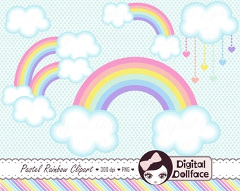 Pastel Rainbow Clip Art, Clouds Clipart, Spring Graphics Design, Digital