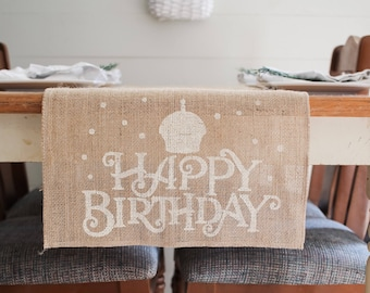 Happy Birthday Burlap Table Runner Special CelebrationTable Farmhouse Free Shipping