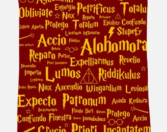 Spells Blanket, 40x50 Minky Blanket Harry Potter Blanket Harry Potter Gift for Her Gift for Him Gift for Teen Gift for Kids Hogwarts Blanket