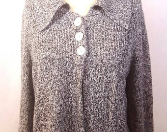 Vintage SML Design 3-button, Black and White, Cardigan, Sweater, Size Medium